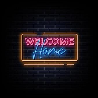 Bienvenue à la maison texte de style d'enseignes au néon