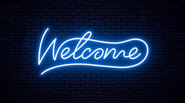 Bienvenue - modèle d'inscription prêt pour enseigne au néon.