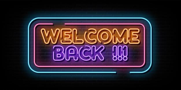 Bienvenue à nouveau symbole néon texte néon