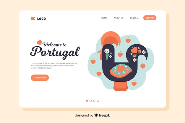 Bienvenue sur la page de destination du portugal
