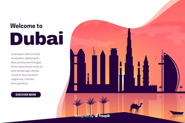Bienvenue sur la page de destination de dubaï avec illustrations