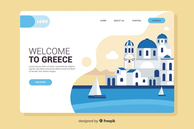 Bienvenue sur la page de destination de la grèce