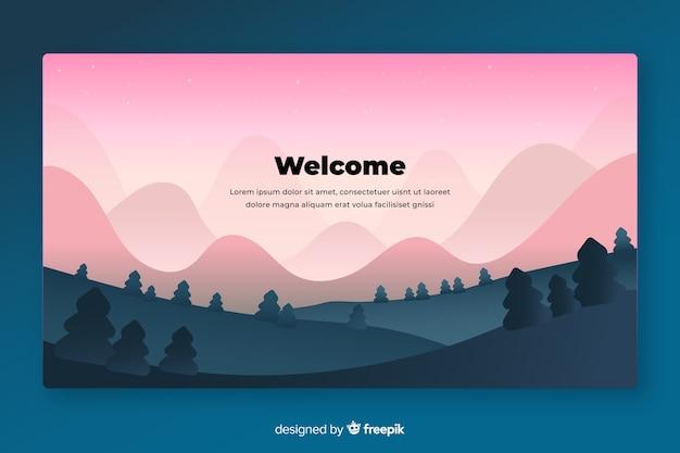Bienvenue sur la page de destination avec un paysage dégradé