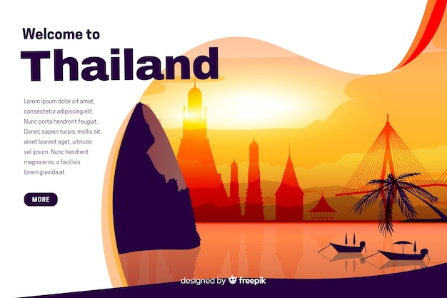 Bienvenue sur la page de destination de la thaïlande avec des illustrations