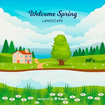 Bienvenue paysage de printemps