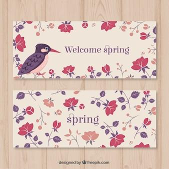 Bienvenue printemps floral banners