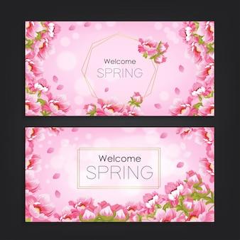 Bienvenue printemps avec fond de motif de fleurs