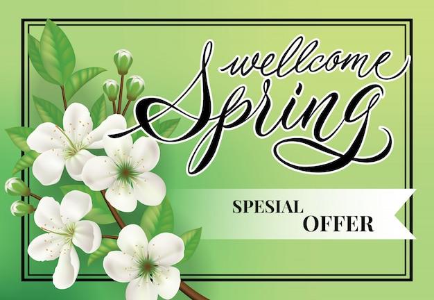 Bienvenue printemps lettrage d'offre spéciale. shopping inscription avec des fleurs de fleur de pommier.