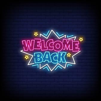 Bienvenue retour enseigne au néon
