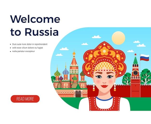 Bienvenue en russie, agence de voyages à composition plate, publicité avec une fille à sarafan et à kokoshnik