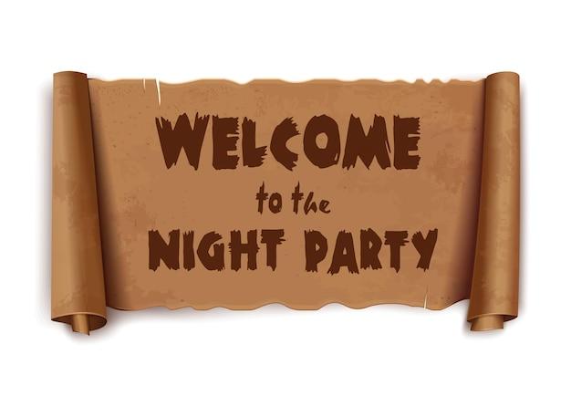 Bienvenue à la soirée - texte sur le ruban de voeux de défilement. papyrus antique avec inscription - bienvenue à la soirée. vintage vector incurvé, bannière marron isolé sur fond blanc