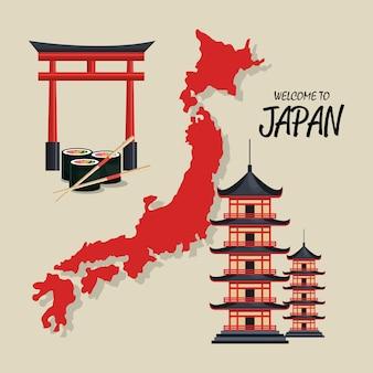 Bienvenue symbole du japon traditionnel