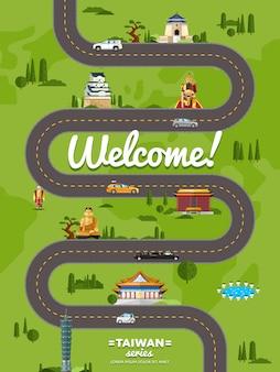 Bienvenue à taiwan affiche avec des attractions célèbres