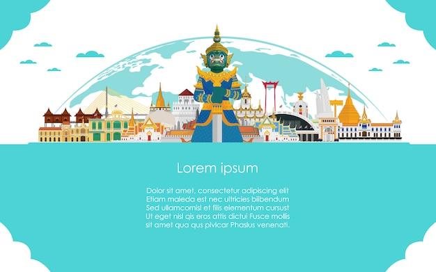 Bienvenue en thaïlande et modèle de voyage géant gardien