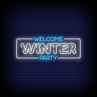 Bienvenue winter party neon signs style texte