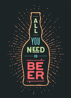 Bière. affiche ou bannière avec bouteille de bière, texte à la bière ou pas à la bière