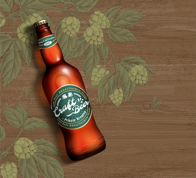 Bière artisanale en illustration 3d sur fond de table en bois et fleur de houblon gravé