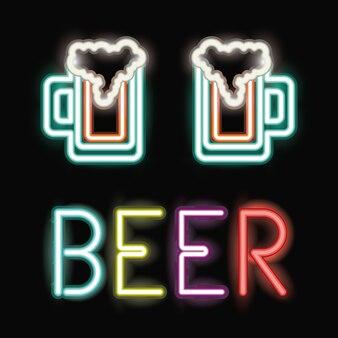 Bière au néon de l'icône de la barre