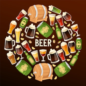 Bière, bière, brasserie, vecteur, beerbarrel, beermug, sombre, bière, illustration, de, beerbottle, dans, barre, bière, alcool, partie