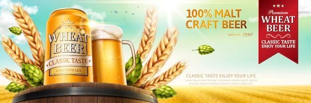 Bière de blé avec des ingrédients naturels sur fût de chêne