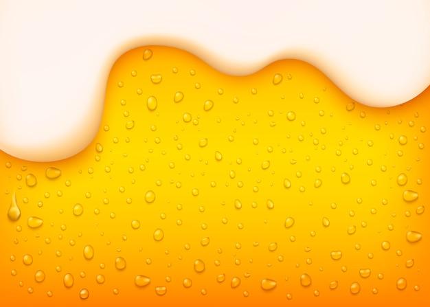 Bière blonde de vecteur avec mousse blanche