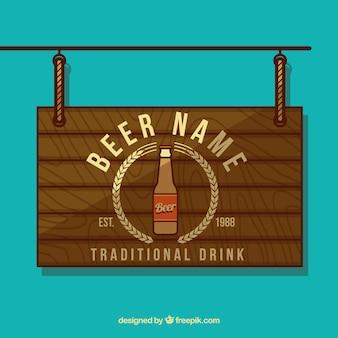 La bière en bois panneau de signe
