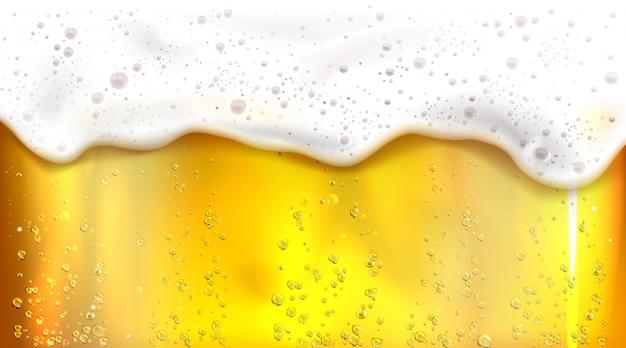 Bière avec bulles et fond de mousse