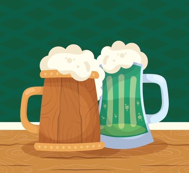 Bière de célébration de saint patrick dans des bocaux en bois et verts
