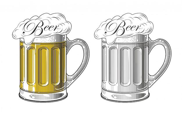 Bière dans le style de gravure vintage