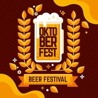 Bière d'événement oktoberfest dessinée à la main