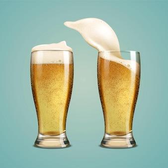 Bière fraîche dans une tasse en verre sur fond bleu, illustration 3d