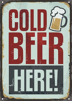 Bière froide ici, signe de l'étain rétro pour pub ou café