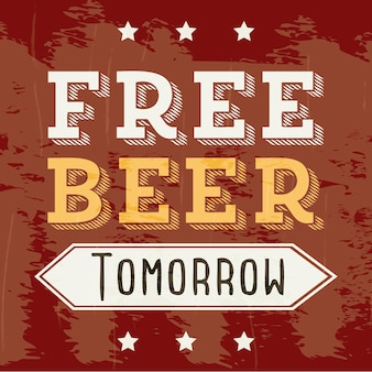 Bière gratuite demain illustration illustration vectorielle style vintage
