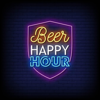 Bière happy hour neon signs style texte vecteur