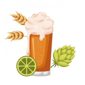 Bière avec icône isolé mousse et blé