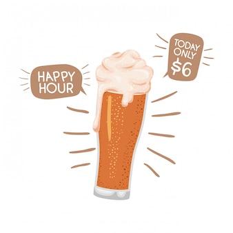 Bière avec icône isolé mousse