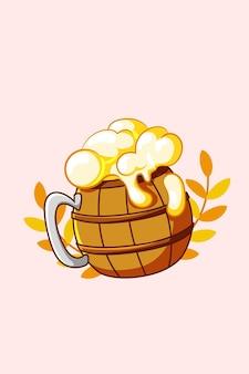 Bière à l'illustration de dessin animé icône oktoberfest