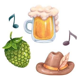 Bière d'illustration d'oktoberfest dans une tasse en verre avec de la mousse, du houblon, de la musique, des partitions, un chapeau