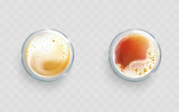 Bière légère et sombre dans des verres vecteur réaliste