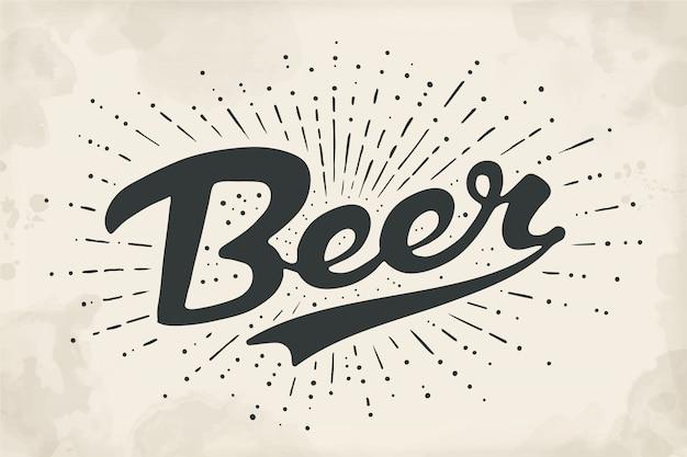 Bière lettrage dessiné à la main