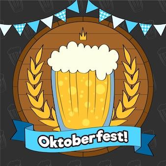 Bière oktoberfest dessinée à la main