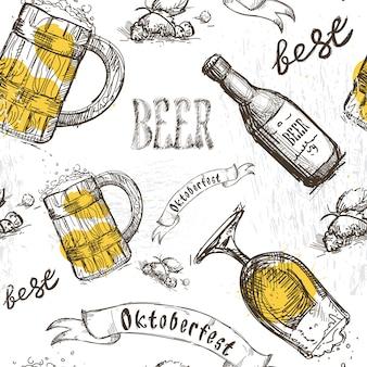 Bière en verre motif sans couture festival oktoberfest