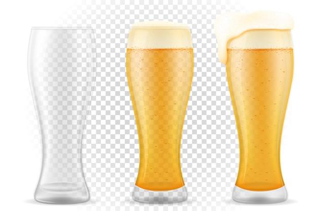 Bière en verre sur transparent
