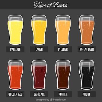 Bières colorées avec leurs noms