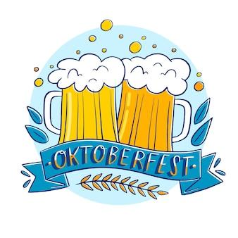Bières oktoberfest dessinées à la main