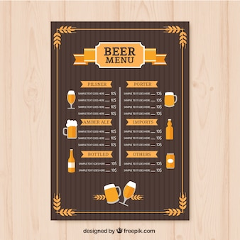 Bières vintage menu modèle