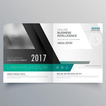 Bifold conception brochure du modèle avec la forme abstraite couverture du magazine layout