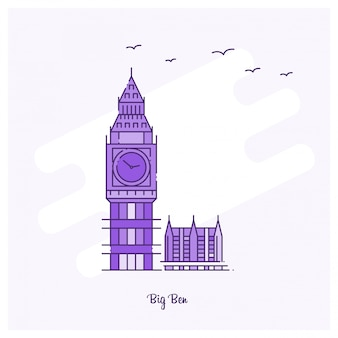 Big ben landmark ligne de pointillé violet