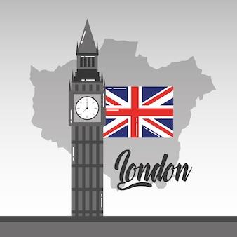 Big ben londres carte et drapeau britannique point de repère
