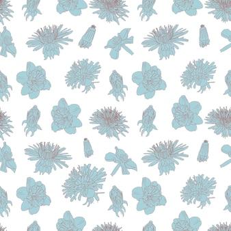 Big blue bloom vintage line art seamless floral pattern